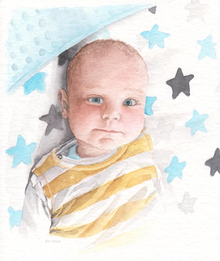 Babyportrait (Aquarellpapier, 12x16 cm)
