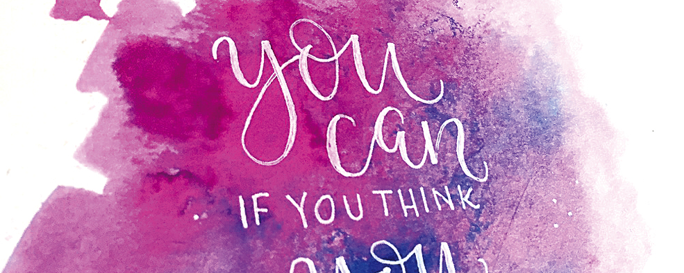 Motivationsspruch in Aquarell: Fauxcalligraphy & Fineliner Lettering [DETAIL]