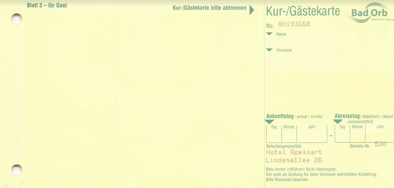 Meldeschein Blatt 3 - Gästekarte für Gast - Vorderseite