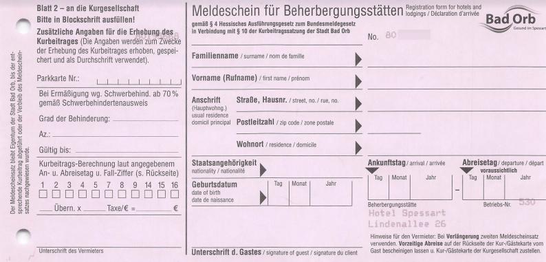 Meldeschein Blatt2 - für Kurgesellschaft - Vorderseite