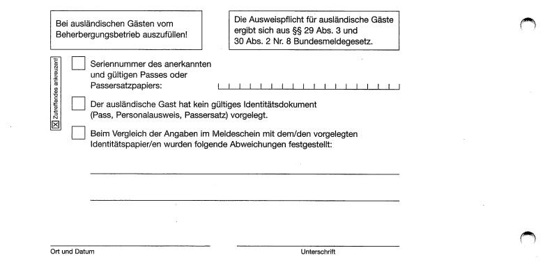 Meldeschein Blatt 1 - für Beherberungsbetrieb - Rückseite
