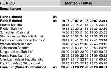Fahrplan RE 50 - Fulda - Hanau - Frankfurt