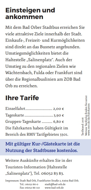 Flyer Stadt Bus Bad Orb - Tarife