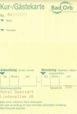 Gästekarte - Vorderseite