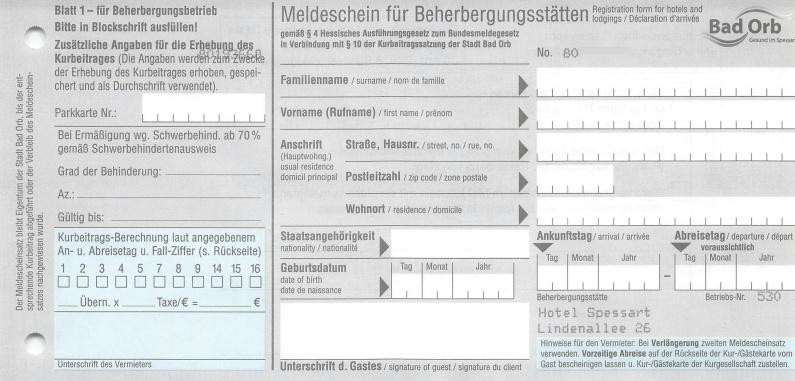 Meldeschein Blatt 1 - für Beherberungsbetrieb - Vorderseite