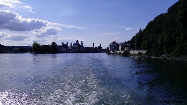 """Das """"Dreiflüsseeck"""" - der Zusammenfluss von Inn, Donau und Ilz"""