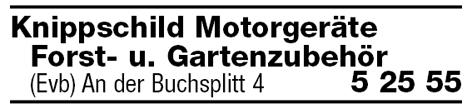 Motorgeräte, Forst- und Gartenzubehör Michael Knippschild, Eversberg