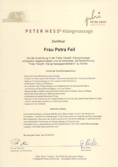 Peter Hess®-Klangmassagepraktikerin