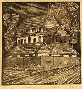 Moschee von Puthiya-Karu, Shihab Vaippipadath, 1997, Radierung, Papier, 20,5x21cm, ID1754