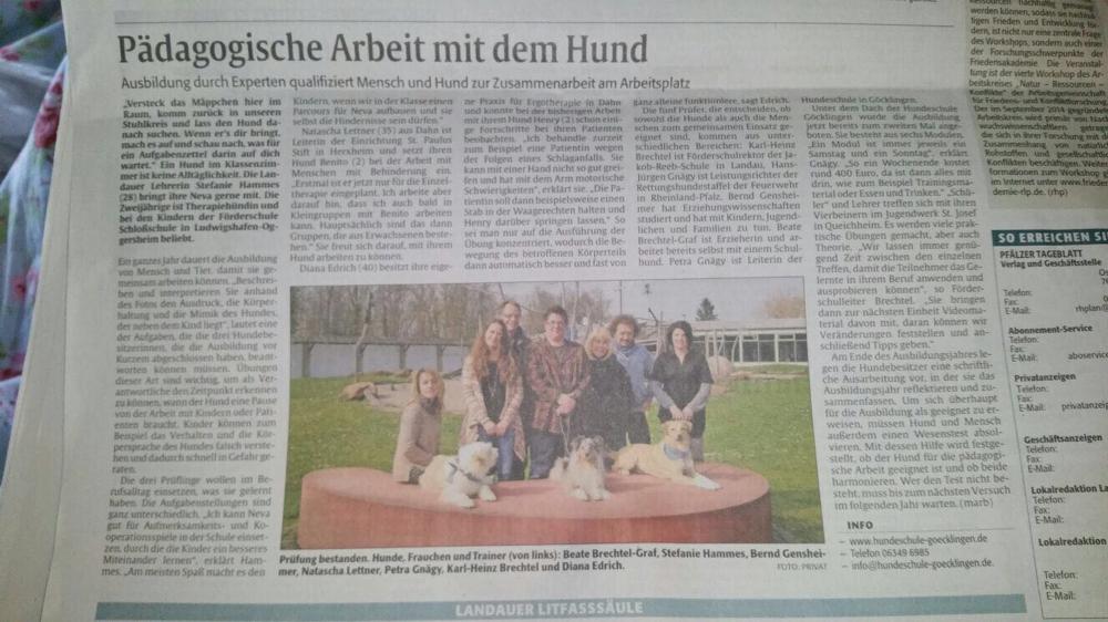Unser BogeyBenito war mit seinem Frauchen in der Zeitung. Er ist nun offiziell geprüfter Therapiehund! Herzlichen Glückwunsch!