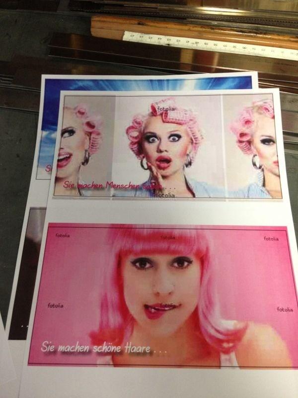 Flippige Werbeflyer in der Entwurfsphase für unserer Briefbogendruckerei