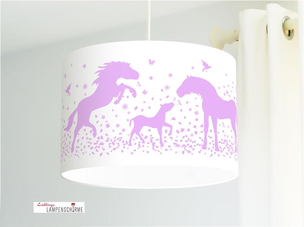 Jasmundson Deckenlampe Fur Madchen Kinderzimmer Mit Pferden In Flieder Aus Baumwolle