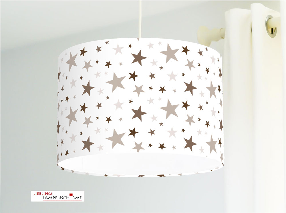 Jasmundson - Lampe mit Sternen in Grau-Braun fürs Kinderzimmer aus Baumwolle