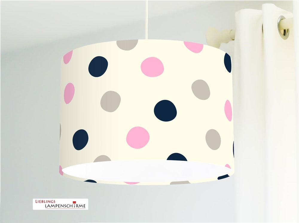 Jasmundson - Lampe für Mädchen und Kinderzimmer mit großen Punkten in Rosa  Taupe und Dunkelblau auf Creme aus Baumwolle