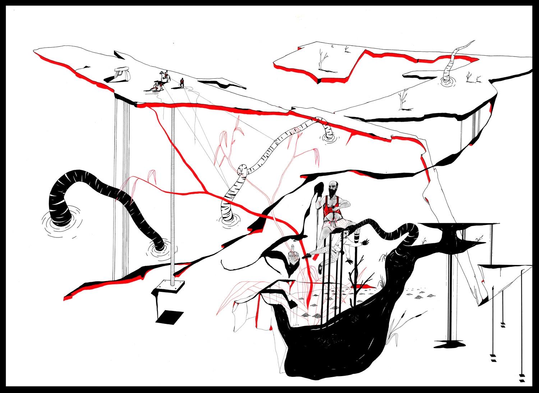Catharsis 5. Plume, encre de chine, feutre, encres de couleur sur papier, 72 x 107 cm