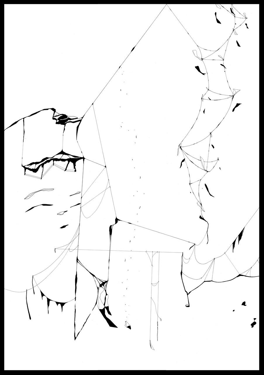 Plume et encre de chine, feutre a encre sur papier. 107 x 76 cm