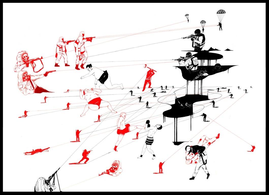 """""""Catharsis 3"""", Plume, encre de chine, encre rouge et blanche sur papier, 73 x 108 cm"""