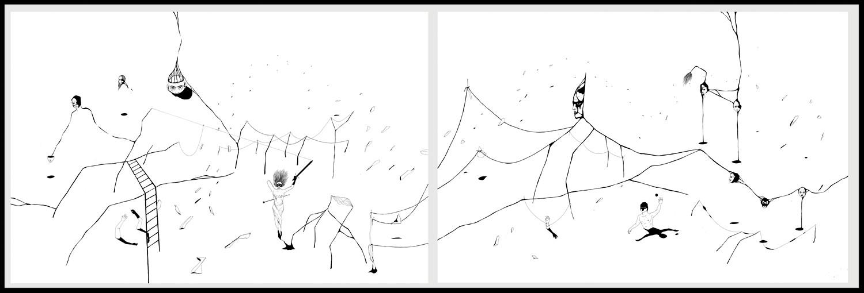 Diptyque 1. Plume, encre de chine, feutre à encre sur Vélin d'arches, 80 x 120 cm