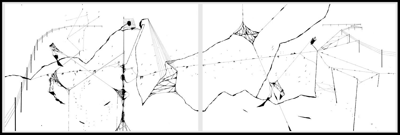 Diptyque 2. Plume, encre de chine, feutre à encre sur Vélin d'arches, 80 x 120 cm