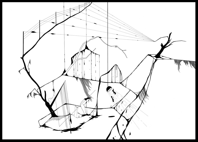 Plume et encre de chine, feutre a encre sur papier. 76 x 111 cm