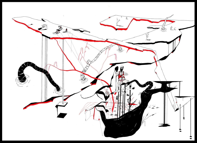 Catharsis 5. Dessin sur papier, 72 x 107 cm. Feutre, plume, encre de chine et de couleur
