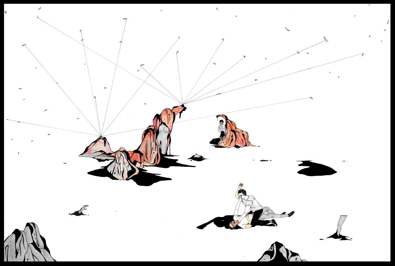 Catharsis 1. Dessin sur papier simili-japon, 65 x 96 cm. Plume et encre de chine, aquarelle, et crayon à papier