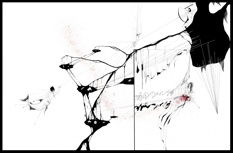 Dessin sur papier, plume, encre de Chine, stylo blanc et aquarelle. 80 x 120 cm
