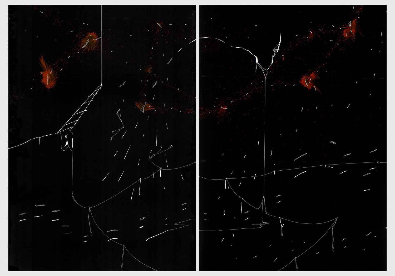 Diptyque 4. Plume, encre rouge et blanche, stylo à encre sur papier noir, 72 x 100cm