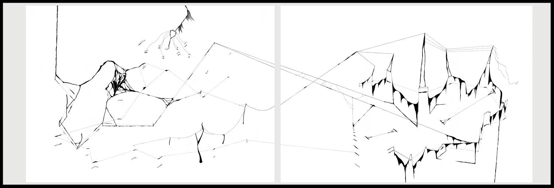 Diptyque 3. Plume, encre de chine, feutre à encre sur papier, 76 x 108cm