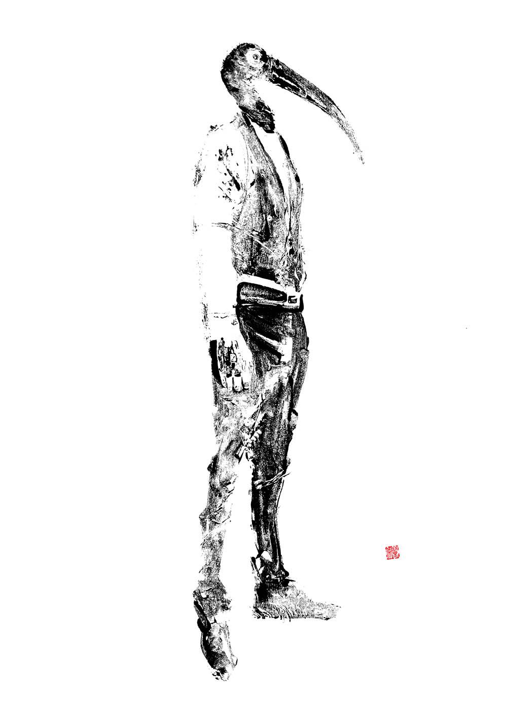 Horus, 70 x 100 cm, techniques mixtes sur papier