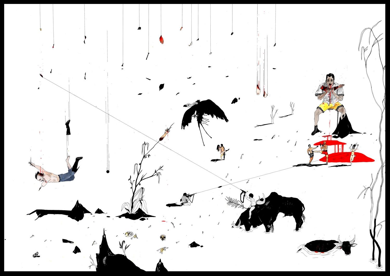 """""""Catharsis 4"""", Plume, encre de chine et aquarelle sur papier, 72 x 107 cm"""