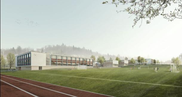 Das geplante Oberstufenzentrum Rebberg in Zofingen – hier in einer nun veralteten Visualisierung – soll um einen zusätzlichen Stock auf drei Stöcke erweitert werden. Bild: zvg