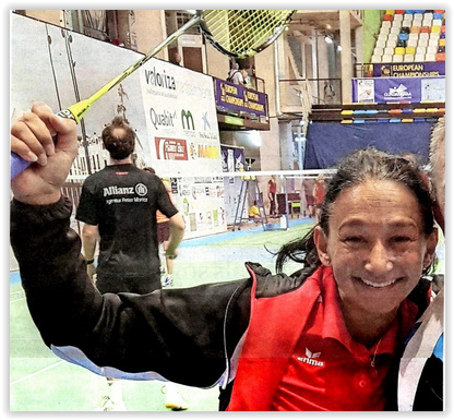 Im Badminton eine Kämpferin