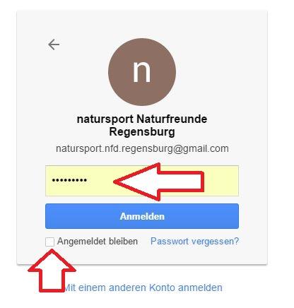 """Passwort bitte bei Roman oder Dieter anfragen Haken bei """"Angemeldet bleiben"""" enfernen"""