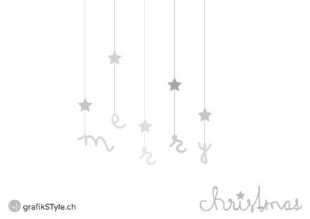 """Postkarte """"merry christmas"""" Rückseite"""