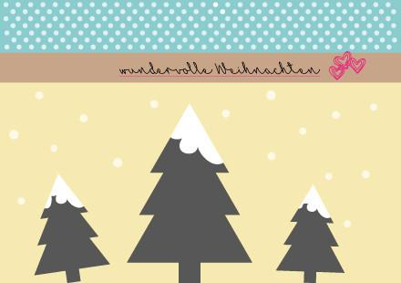 """Postkarte """"Tannenbäume"""" Vorderseite"""