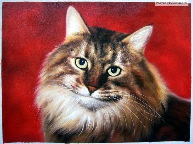 portrait-Peinture-chat-rouge