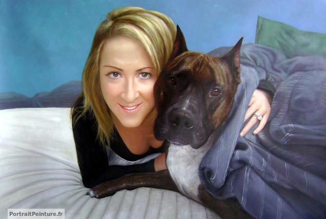 portrait-peinture-femme-chien