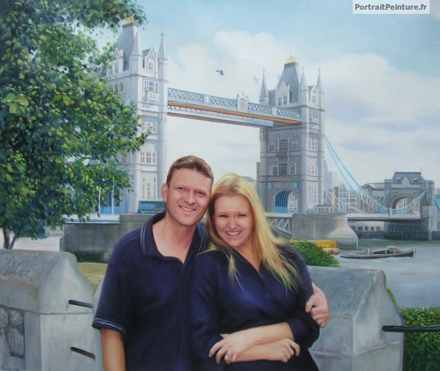 Peinture de couple portrait de couple idee cadeau couple portrait peint - Cadeau pour jeune couple ...