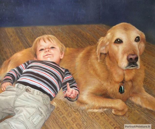 Peinture-enfant-chien-portrait-huile