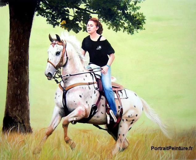 Peinture-equestre-cheval-cavalier-animalier