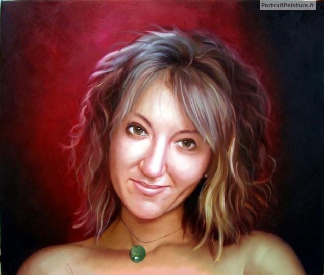 portrait de femme peinture de femme id e cadeau amie portrait peinture peinture a l 39 huile a. Black Bedroom Furniture Sets. Home Design Ideas
