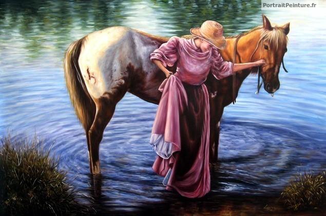 peinture-huile-cheval-cavaliere-animal-equestre