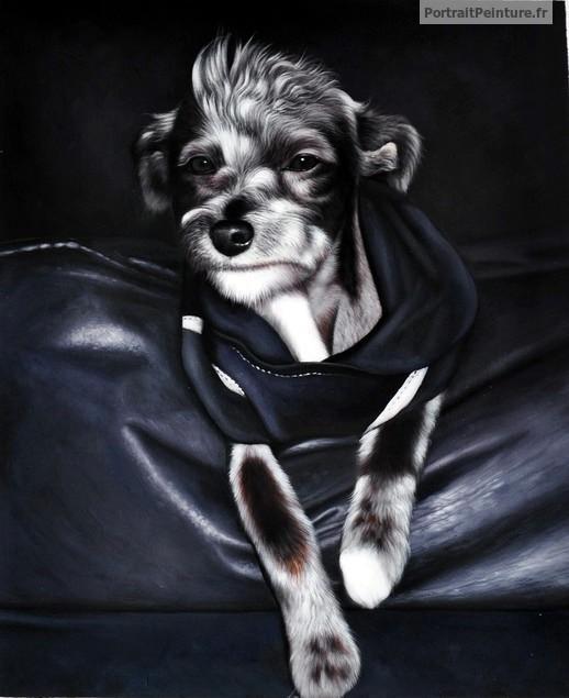 portrait-peinture-chien-vetement