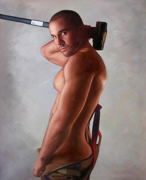 peinture-d-homme-nu-portrait-tableau