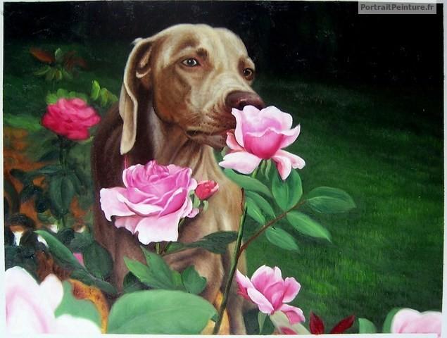 peinture-huile-chien-rose