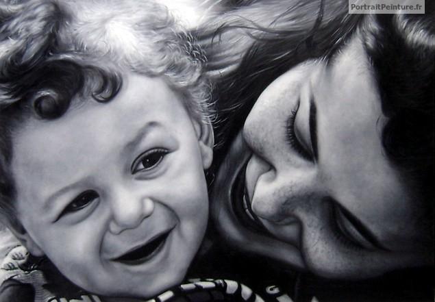 portrait-famille-peinture-noir-et-blanc
