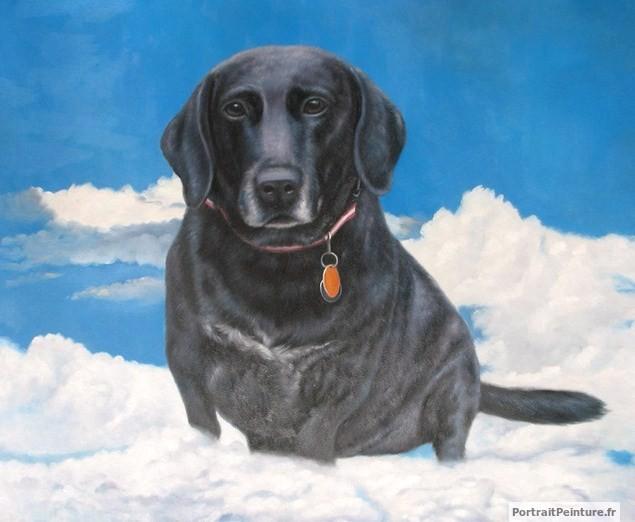 Peinture-huile-chien-mort-deuil