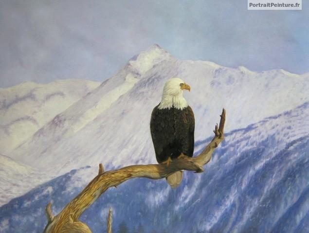 peinture-huile-portrait-aigle-animal