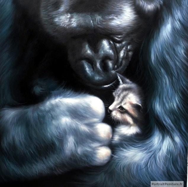 peinture-animaliere-chaton-gorille-huile